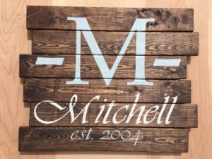 Example of a monogram surname sign designed at Crafted. Courtesy Crafted.