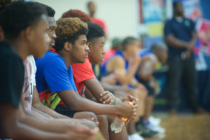 Teens gather every Thursday night for Midnight Basketball. (Jason Waite Photography.)