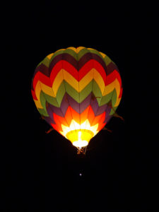 hot air baloon at night